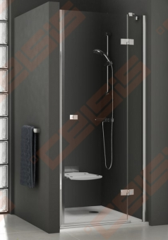Varstomos dušo durys RAVAK SMARTLINE SMSD2-90 B-L su chromo spalvos detalėm ir skaidriu stiklu