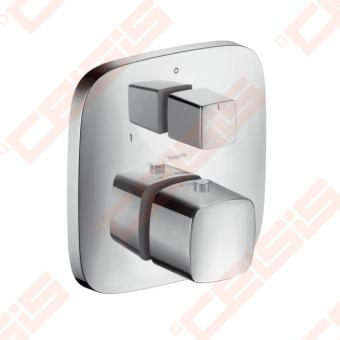 Dekoratyvinė dalis potinkiniam termostatiniam dušo maišytuvui HANSGROHE PuraVida su išjungimo / nukreipimo mygtuku