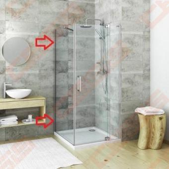 Šoninė sienelė GBN/900 blizgiu profiliu ir skaidriu stiklu. Montuojama su dušo durimis GDO1N.