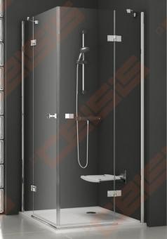 Keturkampė dušo kabina RAVAK SMARTLINE SMSRV4-90 su chromo spalvos detalėm ir skaidriu stiklu