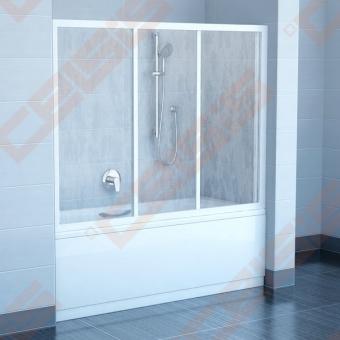 Trijų dalių stumdoma vonios sienelė AVDP3-180 su baltos spalvos profiliu ir pastiko Rain užpildu