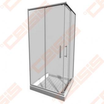 Keturkampė dušo kabina JIKA LYRA PLUS 90x90 su baltos spalvos profiliu ir skaidriu stiklu