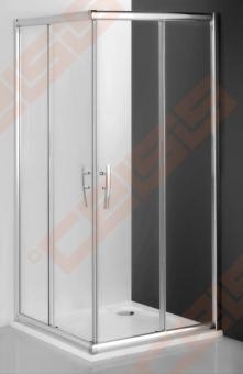 Slankiojančios dušo durys ROTH PROXIMA LINE PXS2L/80 su brillant spalvos profiliu ir skaidriu stiklu (kairė)