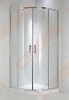 Pusapvalė dušo kabina JIKA CUBITO PURE 80x80 su blizgiu sidrabo spalvos profiliu ir arktiniu stiklu (radius 540)