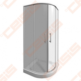Pusapvalė dušo kabina JIKA LYRA PLUS 90x90 su baltos spalvos profiliu ir skaidriu stiklu (radius 550)