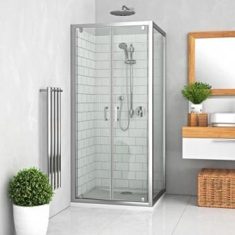 Durys dušo Roth LLDO2/900 blizgiu profiliu, skaidriu stiklu. Skirtos montuoti į nišą  arba derinti su šonine siena Roth LLB.
