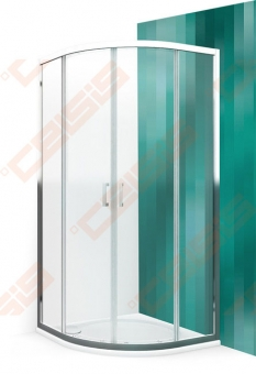 Pusapvalė dušo kabina ROTH Lega Line LLR2 900/1900 su briliantprofiliu ir skaidriu stiklu