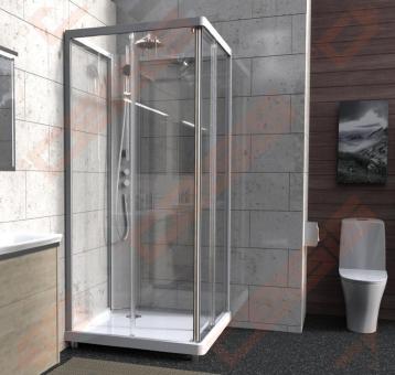 Priekinė dalis dušo bokso Ido 10-5 skaidri 90x90, kvadratinė