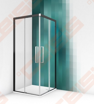 Dušo durys ROTH ECS2L/90 (juodas/skaidrus)
