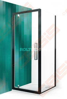 Šoninė dušo sienelė ROTH ECLUSIVE LINE ECDBN/900 juodos spalvos profilis + skaidrus (Transparent) stiklas