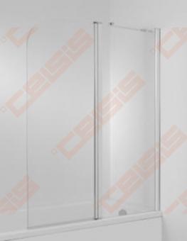 Vonios sienelė Jika Cubito 115 x 140 cm, kairinis modelis, 2 dalių, JIKA perla GLASS, skaidrus stiklas