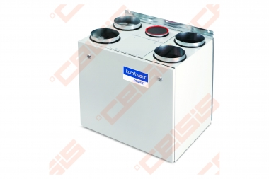 Įrenginys su rotaciniu šilumokaičiu Domekt-R-400-V-C6 vertikalus kairinis, BE PULTO