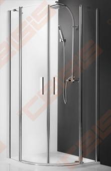 Pusapvalė dušo kabina ROTH TOWER LINE TR2/80 su dviejų elementų atveriamomis durimis, brillant spalvos profiliu ir skaidriu stiklu