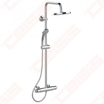 Dušo sistema Ideal Standard Ceratherm 25, termostatinė. Komplekte termostatinis maišytuvas CTHERM 25, apvali 200 mm pagrindinė dušo galva (prastikinė), 80 mm trijų funkcijų rankinis dušas Evo Round, chromas.