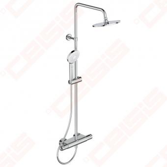 Dušo sistema IDEAL STANDARD Ceratherm50, termostatinė,su lentynėle. Komplekte termostatinis maišytuvas,Ø200mm dušo galva(metalinė),110 mm, 3F rankinis dušas