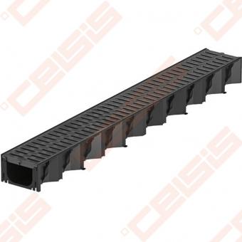 Plastikinis ACO Hexaline latakas su juodomis plastikinėmis grotelėmis; Ilgis - 1000 mm