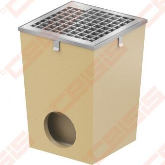 Polimerbetoninis ACO Self trapas su cinkuotomis grotelėmis ir briauna; Dn 255 x 255 mm