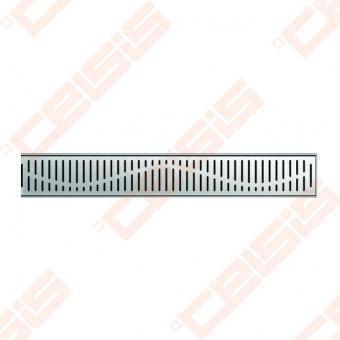 Dušo latakas ACO su WAVE grotelėmis ir horizontaliu flanšu, ilgis - 885 mm, aukštis - 65 mm, medžiaga - nerūdijantis plienas, pajungimas - d50