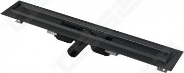 Pažemintas dušo latakas Alca plast 550mm, juodos spalvos nerūdijančio plieno