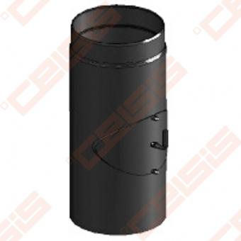 Vienasienis juodo plieno dūmtraukis su užsklanda ir anga valymui JEREMIAS Ferro1451 Dn120x0,5m