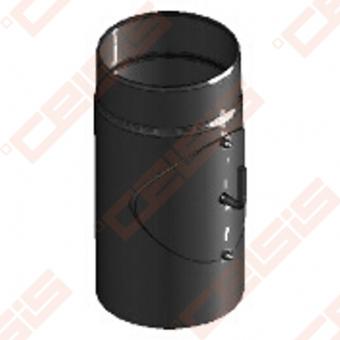 Vienasienis juodo plieno dūmtraukis su užsklanda ir anga valymui JEREMIAS Ferro1464 Dn120x0,3m