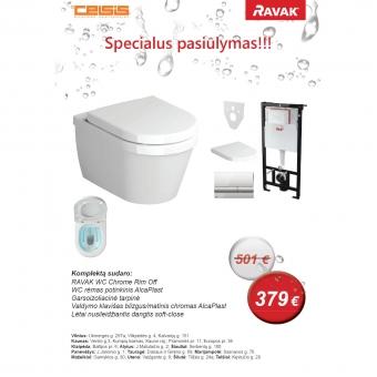 Komplektas: Alca plast rėmas+WC RAVAK ChromeRimoff