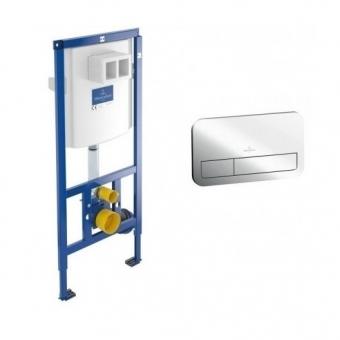 Komplektas VILLEROY&BOCH ViConnect potinkinis rėmas ir mygtukas E200 chromuotas