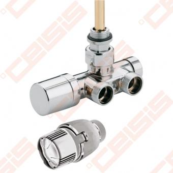 Vožtuvas chromuotas su termostine galva; Pajungimo atstumas 40 mm