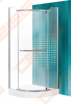 Pusapvalė dušo kabina SANIPRO AUSTIN 90x90 su sidabro spalvos profiliu ir dekoruotu stiklu