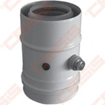 Nerūdijančio plieno dūmtraukis su ortakiu ir matavimų kiauryme JEREMIAS TWIN28 Dn60/100