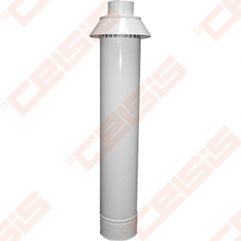 Nerūdijančio plieno dūmtraukis su ortakiu ir vertikaliu antgaliu JEREMIAS TWIN36A Dn60/100