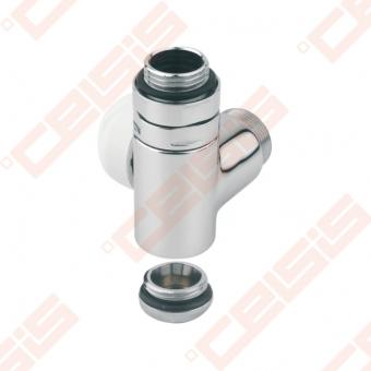 """Termostatinis dešinės pusės kampinis ventilis (spalva: blizgus chromas) CARLO POLETTI V1201; Išorė / Išorė; 1/2"""" x (24 - 19)"""