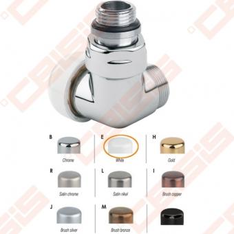 """Termostatinis dešinės pusės kampinis ventilis (spalva: blizgi balta) CARLO POLETTI V751; Išorė / Išorė; 1/2"""" x (24 - 19)"""