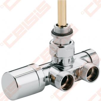 Chromuotas (blizgus) kampinis vožtuvas vienvamzdei / dvivamzdei sistemoms; PAJUNGIMO ATSTUMAS 40 mm